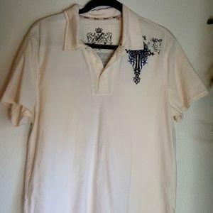 Men's Guess cream 3 button front Shirt size L
